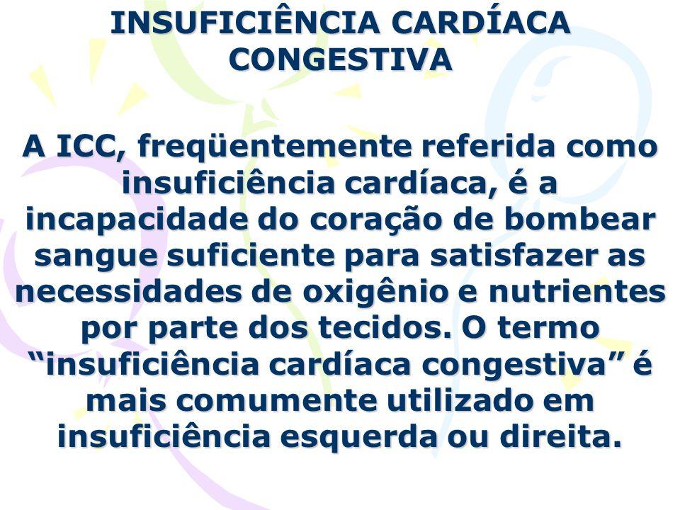 INSUFICIÊNCIA CARDÍACA CONGESTIVA A ICC, freqüentemente referida como insuficiência cardíaca, é a incapacidade do coração de bombear sangue suficiente