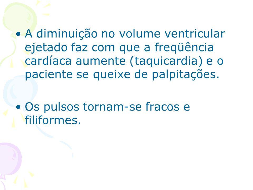 A diminuição no volume ventricular ejetado faz com que a freqüência cardíaca aumente (taquicardia) e o paciente se queixe de palpitações. Os pulsos to
