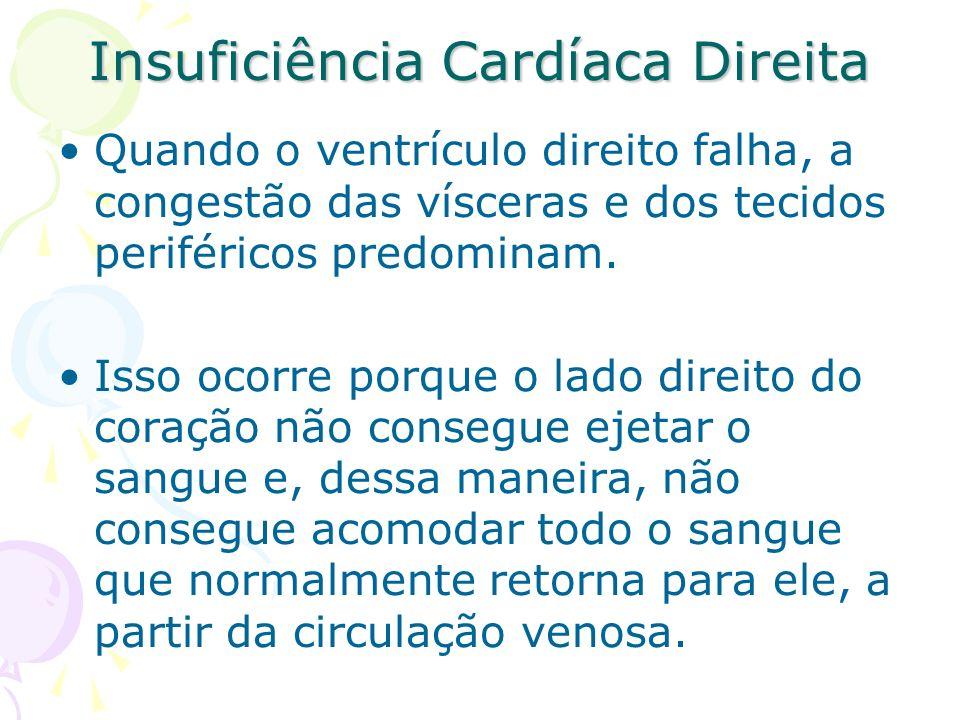 Insuficiência Cardíaca Direita Quando o ventrículo direito falha, a congestão das vísceras e dos tecidos periféricos predominam. Isso ocorre porque o
