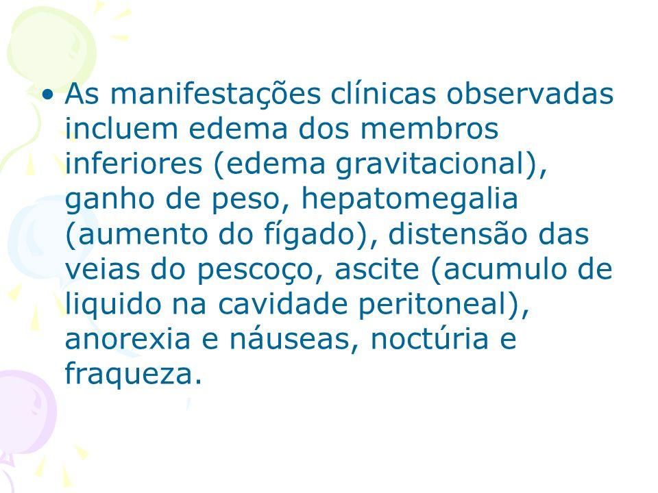 As manifestações clínicas observadas incluem edema dos membros inferiores (edema gravitacional), ganho de peso, hepatomegalia (aumento do fígado), dis