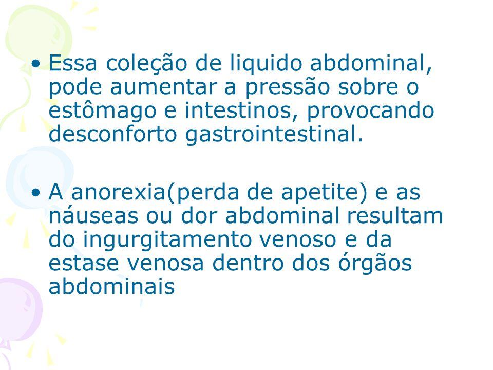 Essa coleção de liquido abdominal, pode aumentar a pressão sobre o estômago e intestinos, provocando desconforto gastrointestinal. A anorexia(perda de