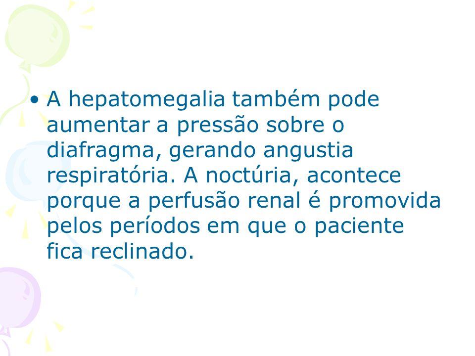 A hepatomegalia também pode aumentar a pressão sobre o diafragma, gerando angustia respiratória. A noctúria, acontece porque a perfusão renal é promov