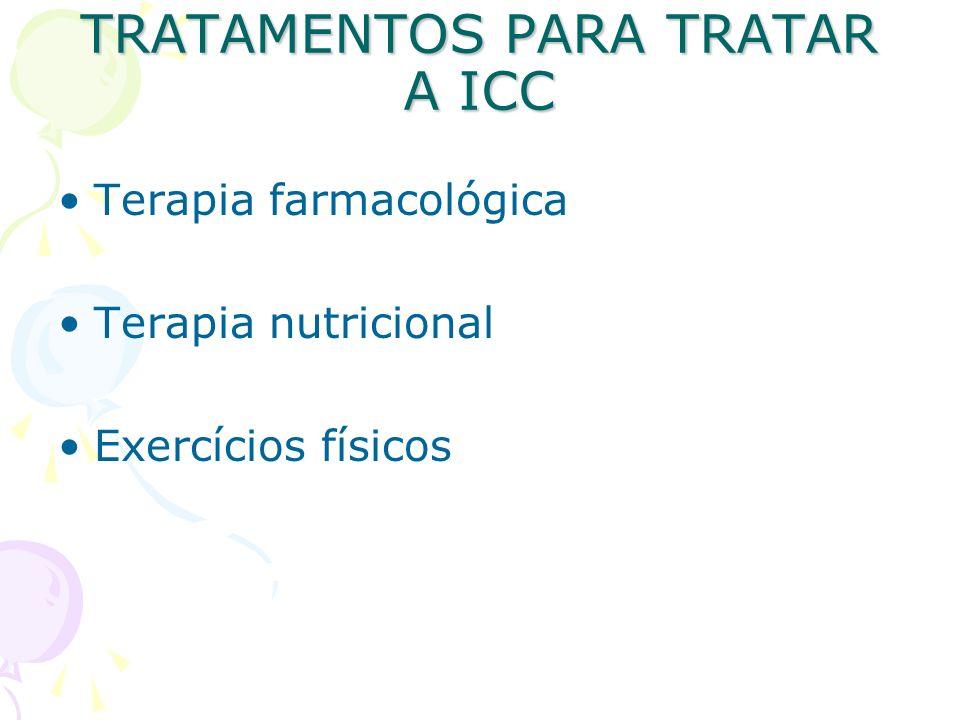 TRATAMENTOS PARA TRATAR A ICC Terapia farmacológica Terapia nutricional Exercícios físicos