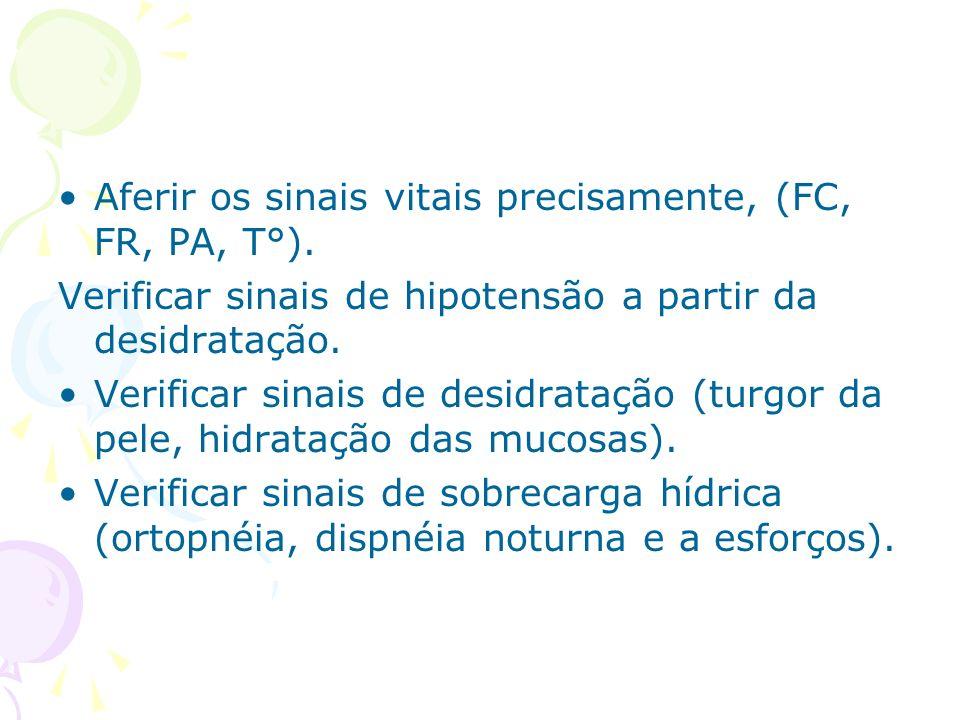 Aferir os sinais vitais precisamente, (FC, FR, PA, T°). Verificar sinais de hipotensão a partir da desidratação. Verificar sinais de desidratação (tur
