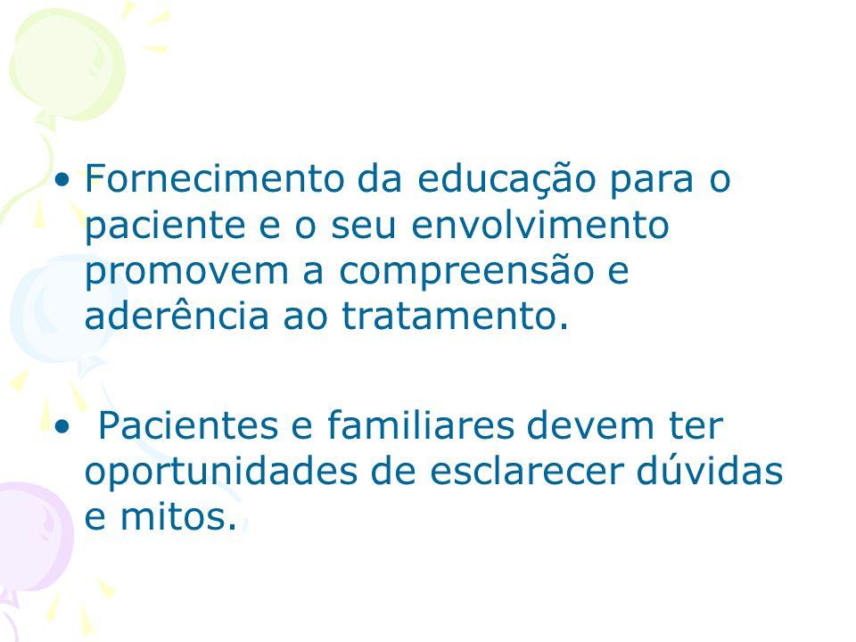 Fornecimento da educação para o paciente e o seu envolvimento promovem a compreensão e aderência ao tratamento. Pacientes e familiares devem ter oport