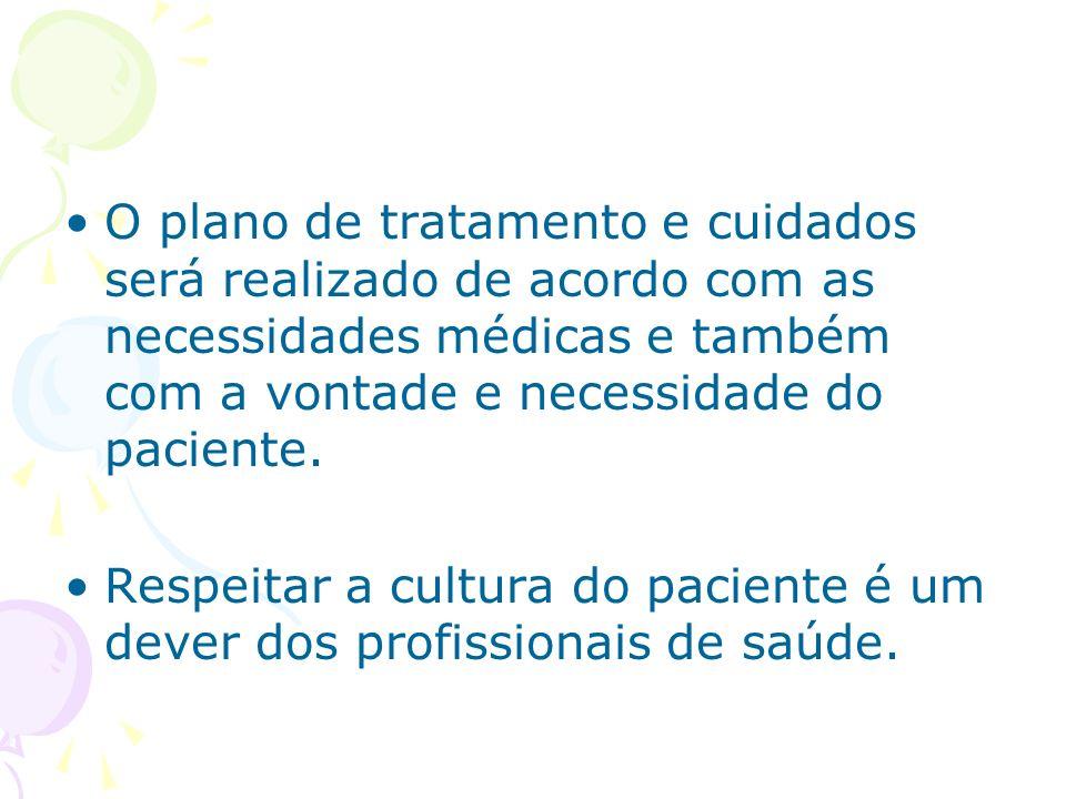 O plano de tratamento e cuidados será realizado de acordo com as necessidades médicas e também com a vontade e necessidade do paciente. Respeitar a cu