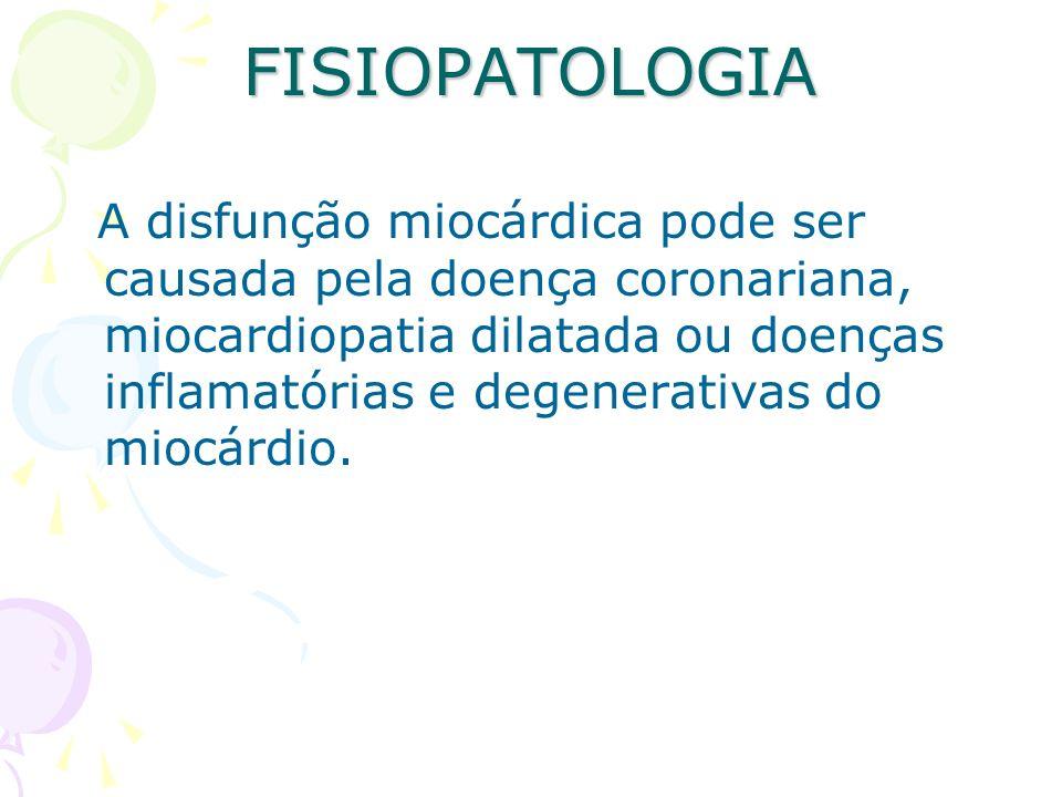 FISIOPATOLOGIA A disfunção miocárdica pode ser causada pela doença coronariana, miocardiopatia dilatada ou doenças inflamatórias e degenerativas do mi
