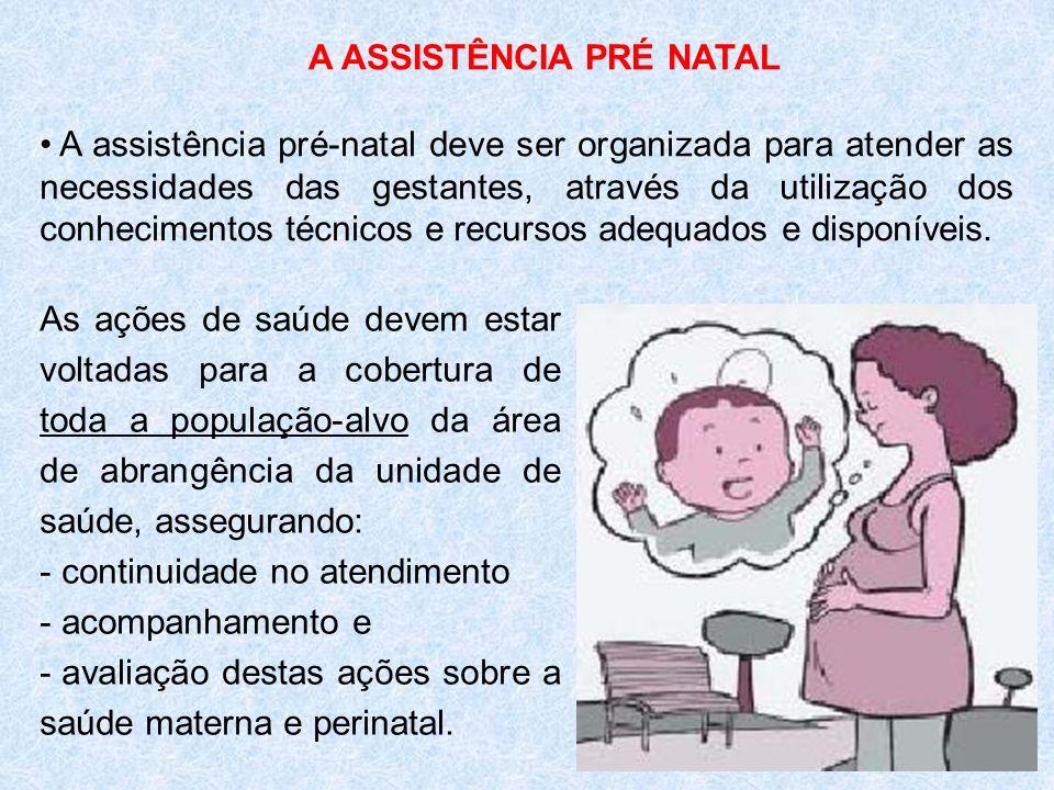 A ASSISTÊNCIA PRÉ NATAL A assistência pré-natal deve ser organizada para atender as necessidades das gestantes, através da utilização dos conhecimento