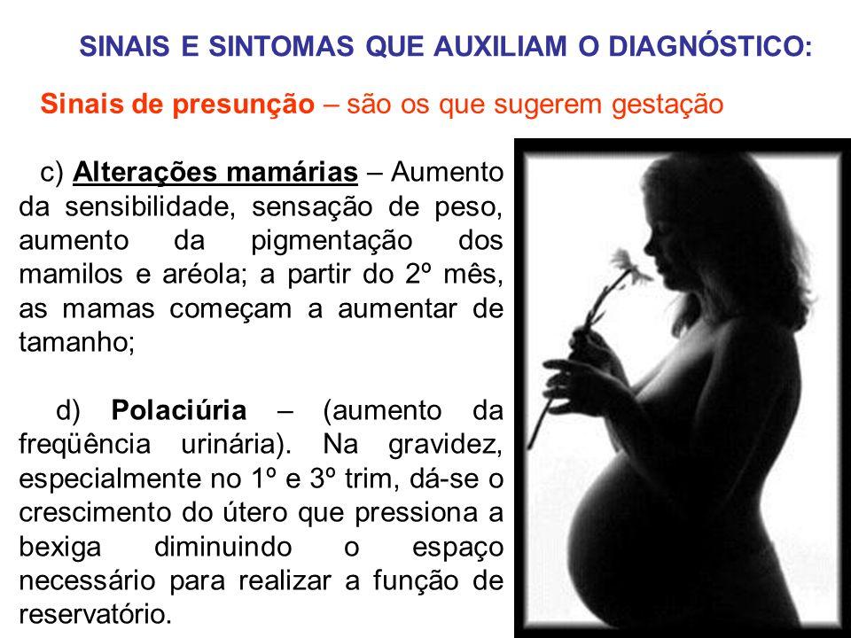 SINAIS E SINTOMAS QUE AUXILIAM O DIAGNÓSTICO: c) Alterações mamárias – Aumento da sensibilidade, sensação de peso, aumento da pigmentação dos mamilos