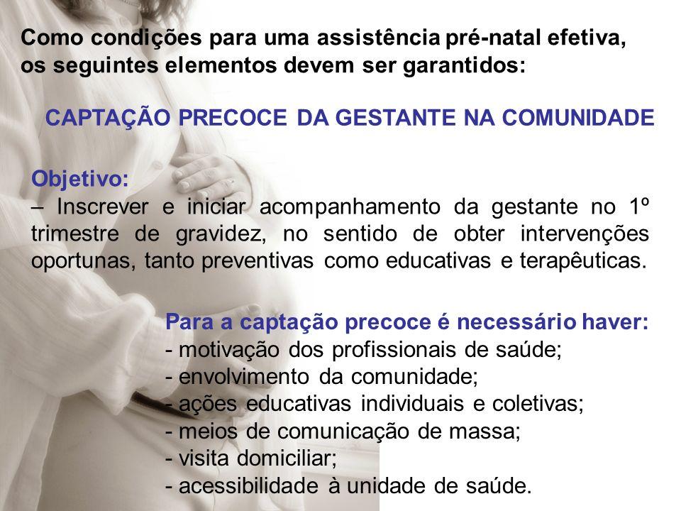 Como condições para uma assistência pré-natal efetiva, os seguintes elementos devem ser garantidos: CAPTAÇÃO PRECOCE DA GESTANTE NA COMUNIDADE Objetiv