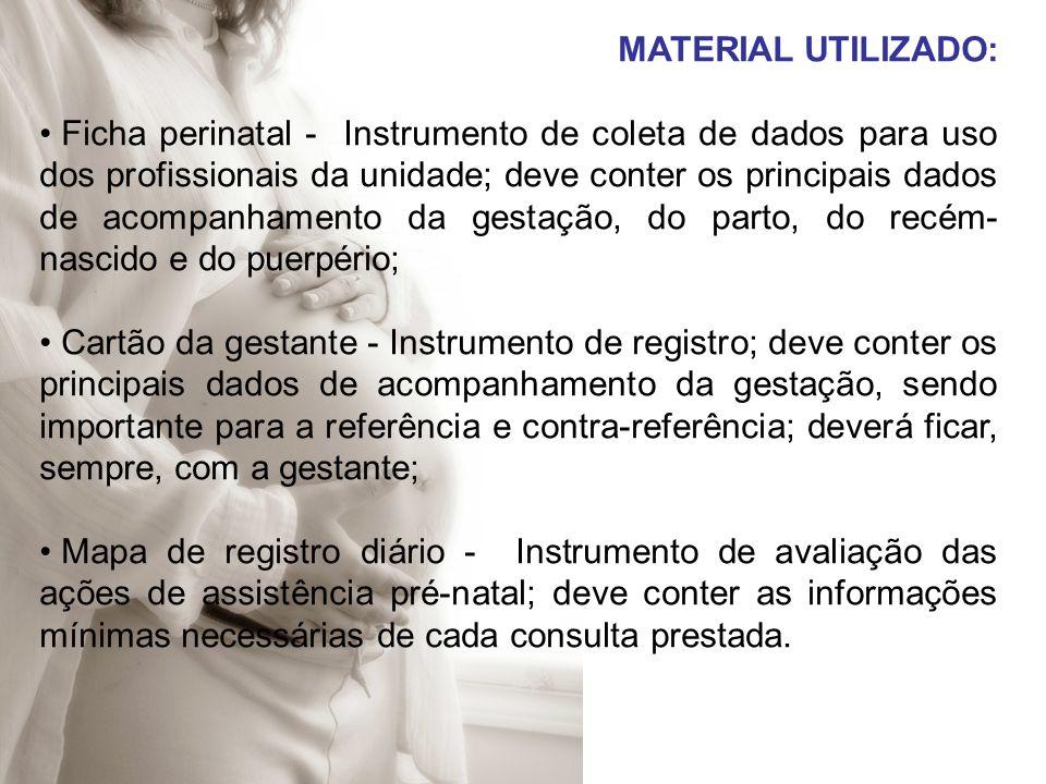 MATERIAL UTILIZADO: Ficha perinatal - Instrumento de coleta de dados para uso dos profissionais da unidade; deve conter os principais dados de acompan