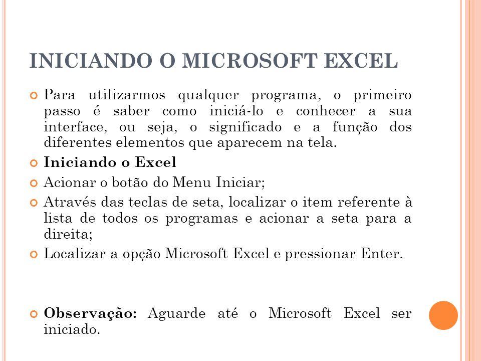 A INTERFACE DO EXCEL Barra de Título: Nesta área temos o centro de controle do Excel, o nome da pasta posicionada e os botões Minimizar e Maximizar ou Minimizar e Restaurar.
