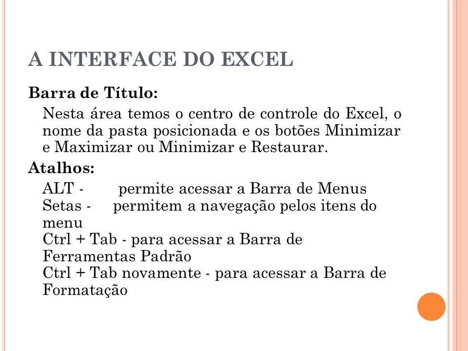 A INTERFACE DO EXCEL Barra de Menus: Exibe os menus através dos quais podemos efetuar diversas operações.