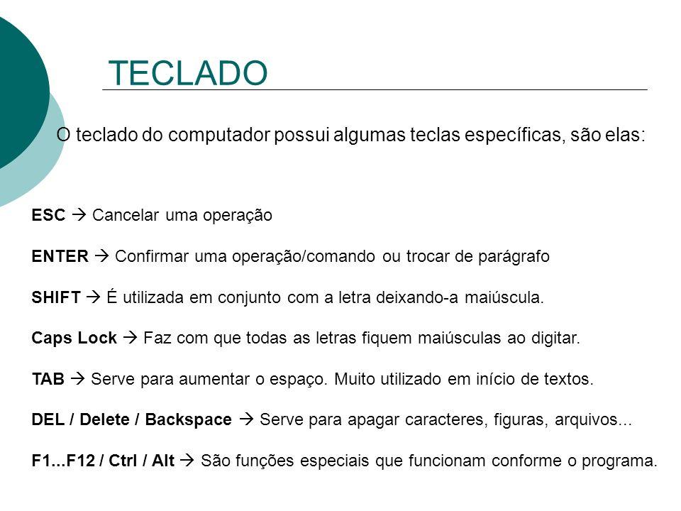 TECLADO O teclado do computador possui algumas teclas específicas, são elas: ESC Cancelar uma operação ENTER Confirmar uma operação/comando ou trocar