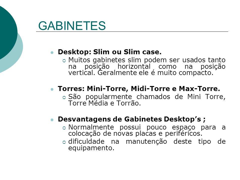GABINETES Desktop: Slim ou Slim case. Muitos gabinetes slim podem ser usados tanto na posição horizontal como na posição vertical. Geralmente ele é mu