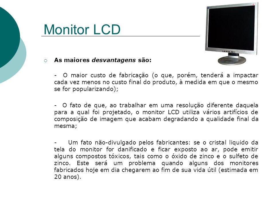 Monitor LCD As maiores desvantagens são: - O maior custo de fabricação (o que, porém, tenderá a impactar cada vez menos no custo final do produto, à m