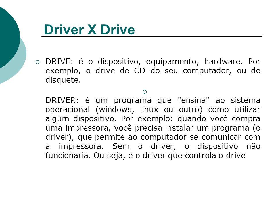 Driver X Drive DRIVE: é o dispositivo, equipamento, hardware. Por exemplo, o drive de CD do seu computador, ou de disquete. DRIVER: é um programa que