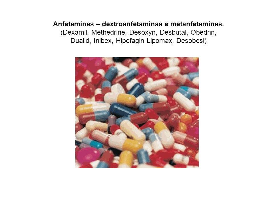Anfetaminas – dextroanfetaminas e metanfetaminas. (Dexamil, Methedrine, Desoxyn, Desbutal, Obedrin, Dualid, Inibex, Hipofagin Lipomax, Desobesi)