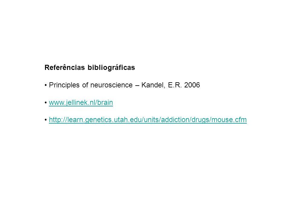 Referências bibliográficas Principles of neuroscience – Kandel, E.R. 2006 www.jellinek.nl/brain http://learn.genetics.utah.edu/units/addiction/drugs/m