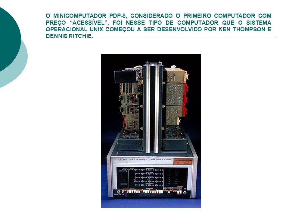 O MINICOMPUTADOR PDP-8, CONSIDERADO O PRIMEIRO COMPUTADOR COM PREÇO ACESSÍVEL. FOI NESSE TIPO DE COMPUTADOR QUE O SISTEMA OPERACIONAL UNIX COMEÇOU A S