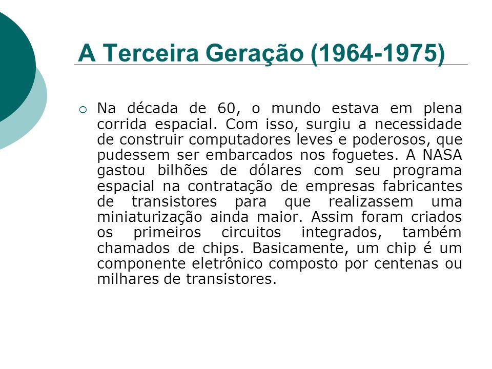 A Terceira Geração (1964-1975) Na década de 60, o mundo estava em plena corrida espacial. Com isso, surgiu a necessidade de construir computadores lev