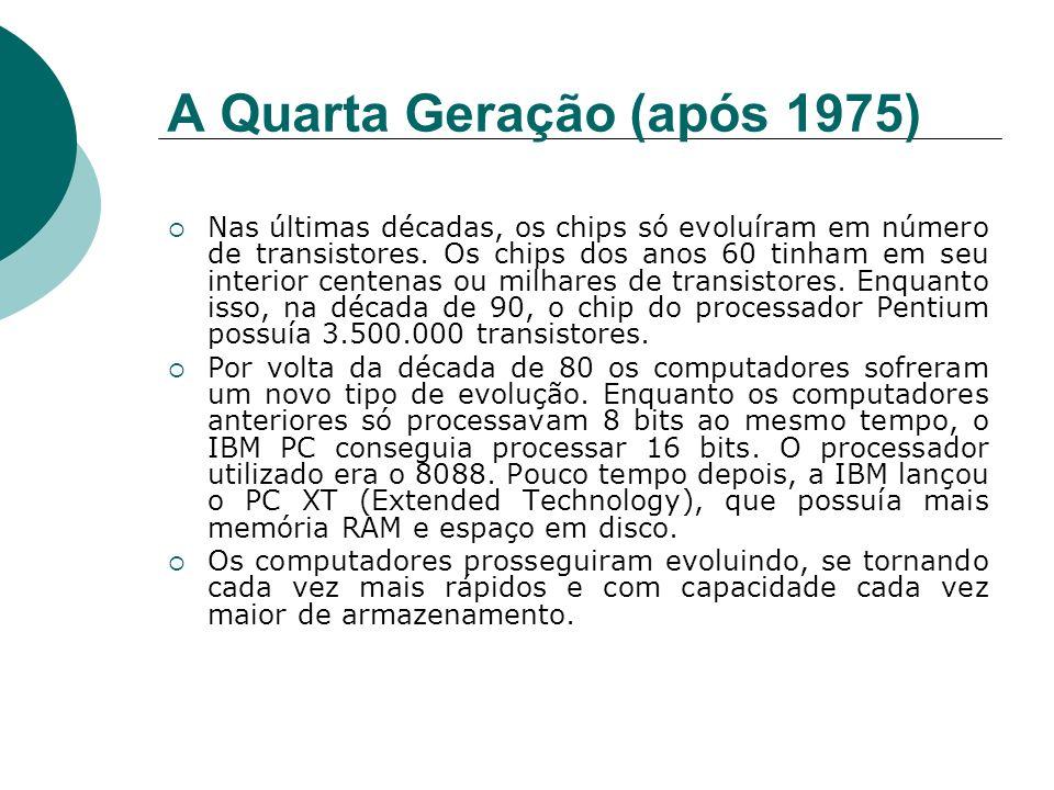 A Quarta Geração (após 1975) Nas últimas décadas, os chips só evoluíram em número de transistores. Os chips dos anos 60 tinham em seu interior centena