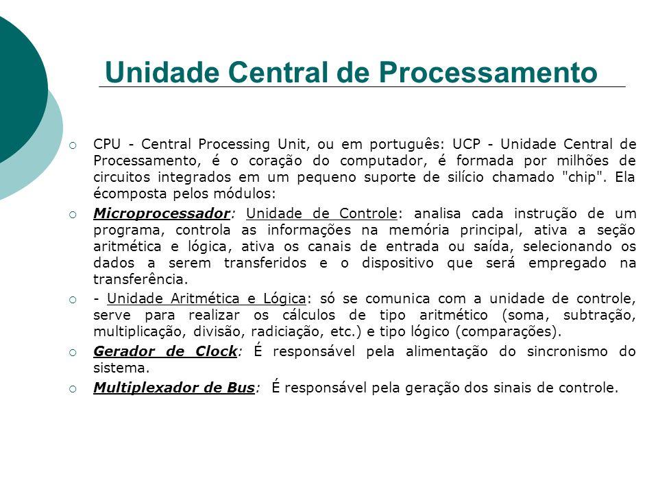 Unidade Central de Processamento CPU - Central Processing Unit, ou em português: UCP - Unidade Central de Processamento, é o coração do computador, é