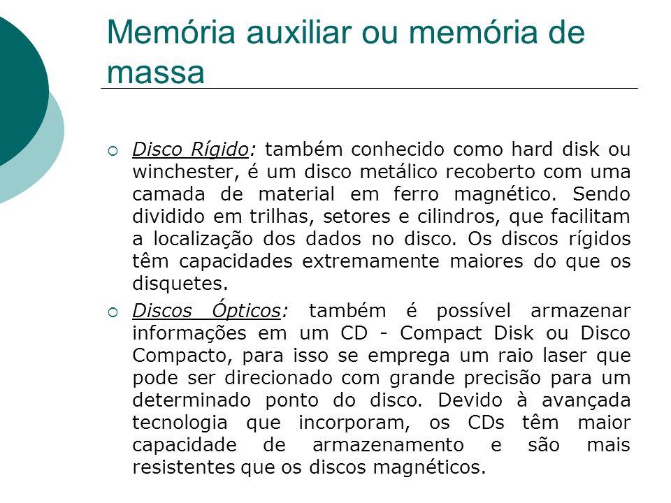 Memória auxiliar ou memória de massa Disco Rígido: também conhecido como hard disk ou winchester, é um disco metálico recoberto com uma camada de mate