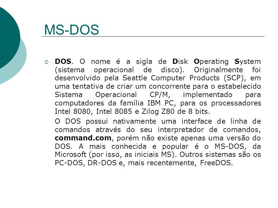 MS-DOS DOS. O nome é a sigla de Disk Operating System (sistema operacional de disco). Originalmente foi desenvolvido pela Seattle Computer Products (S