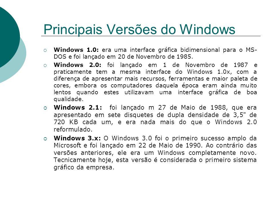Principais Versões do Windows Windows 1.0: era uma interface gráfica bidimensional para o MS- DOS e foi lançado em 20 de Novembro de 1985. Windows 2.0