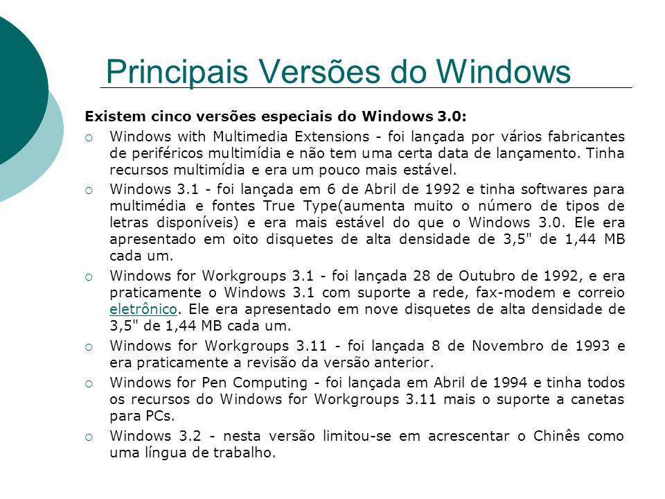 Principais Versões do Windows Existem cinco versões especiais do Windows 3.0: Windows with Multimedia Extensions - foi lançada por vários fabricantes