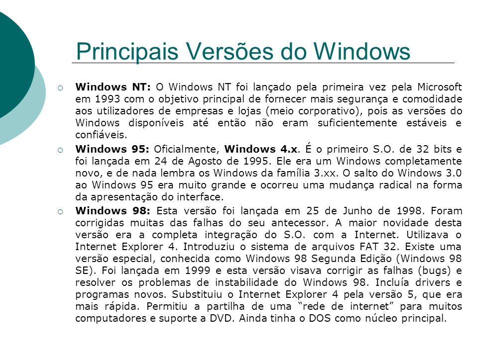 Windows NT: O Windows NT foi lançado pela primeira vez pela Microsoft em 1993 com o objetivo principal de fornecer mais segurança e comodidade aos uti