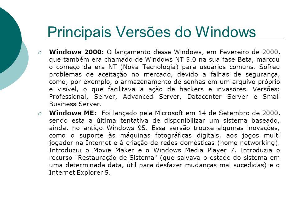 Windows 2000: O lançamento desse Windows, em Fevereiro de 2000, que também era chamado de Windows NT 5.0 na sua fase Beta, marcou o começo da era NT (