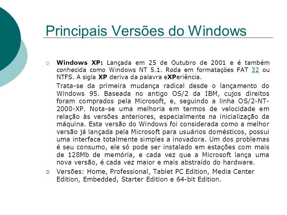 Windows XP: Lançada em 25 de Outubro de 2001 e é também conhecida como Windows NT 5.1. Roda em formatações FAT 32 ou NTFS. A sigla XP deriva da palavr