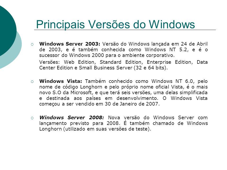 Windows Server 2003: Versão do Windows lançada em 24 de Abril de 2003, e é também conhecida como Windows NT 5.2, e é o sucessor do Windows 2000 para o