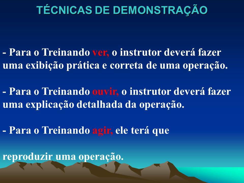 TÉCNICAS DE DEMONSTRAÇÃO - Para o Treinando ver, o instrutor deverá fazer uma exibição prática e correta de uma operação. - Para o Treinando ouvir, o
