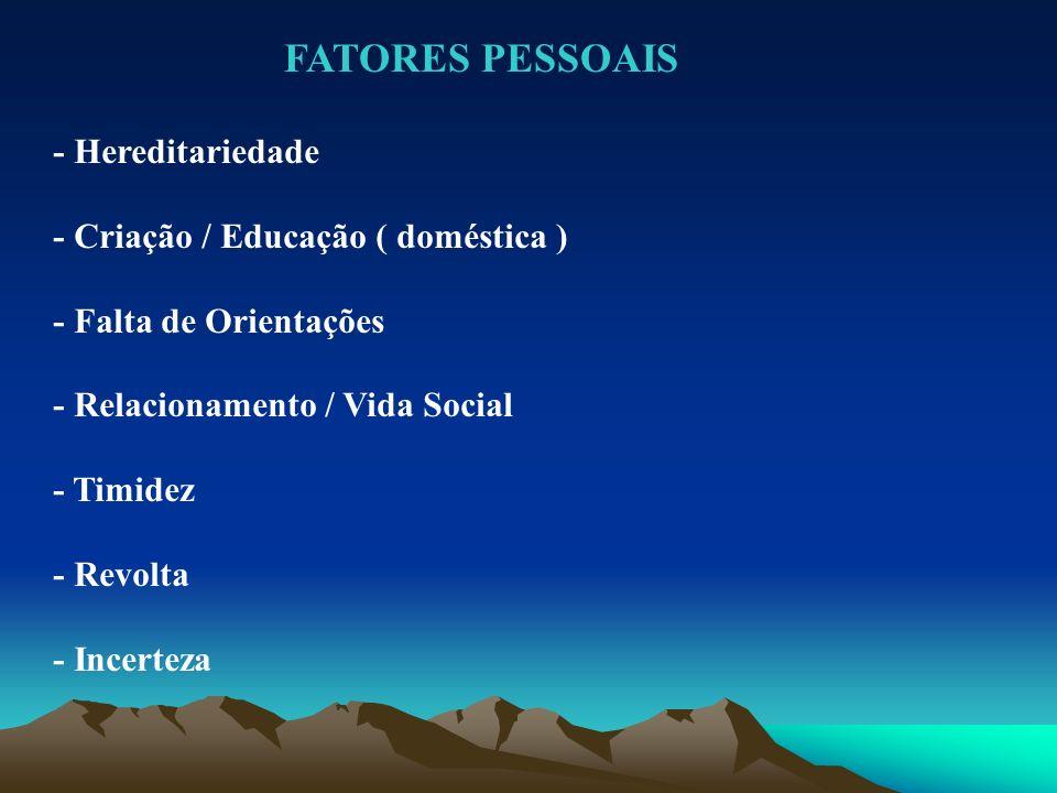 - Hereditariedade - Criação / Educação ( doméstica ) - Falta de Orientações - Relacionamento / Vida Social - Timidez - Revolta - Incerteza FATORES PES