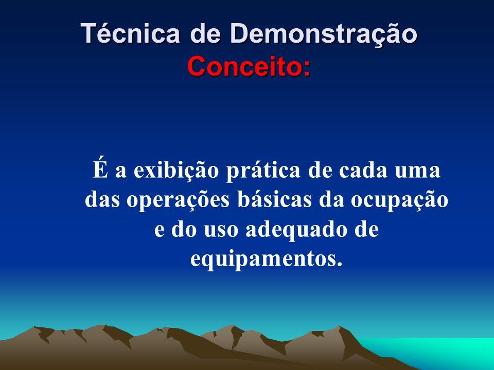 É a exibição prática de cada uma das operações básicas da ocupação e do uso adequado de equipamentos. Técnica de Demonstração Conceito: