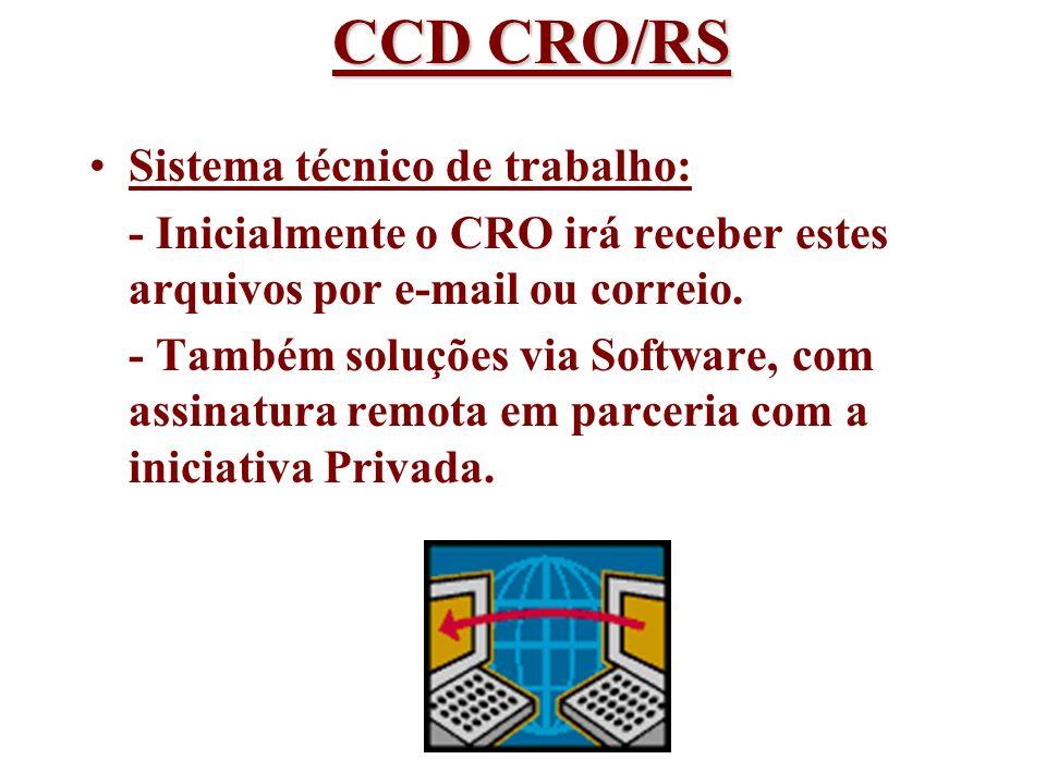 Sistema técnico de trabalho: - Inicialmente o CRO irá receber estes arquivos por e-mail ou correio. - Também soluções via Software, com assinatura rem