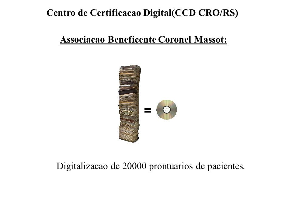 Associacao Beneficente Coronel Massot: Digitalizacao de 20000 prontuarios de pacientes. Centro de Certificacao Digital(CCD CRO/RS)