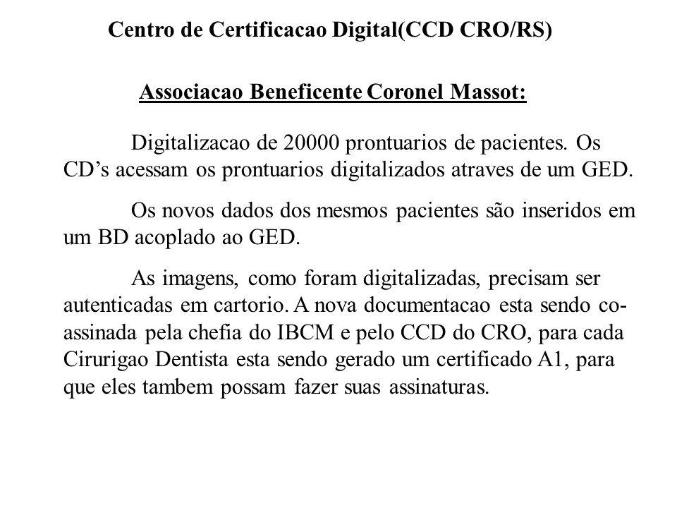 Associacao Beneficente Coronel Massot: Digitalizacao de 20000 prontuarios de pacientes. Os CDs acessam os prontuarios digitalizados atraves de um GED.