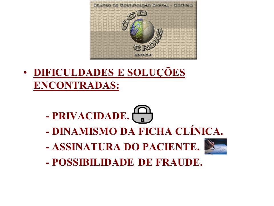 DIFICULDADES E SOLUÇÕES ENCONTRADAS: - PRIVACIDADE. - DINAMISMO DA FICHA CLÍNICA. - ASSINATURA DO PACIENTE. - POSSIBILIDADE DE FRAUDE.