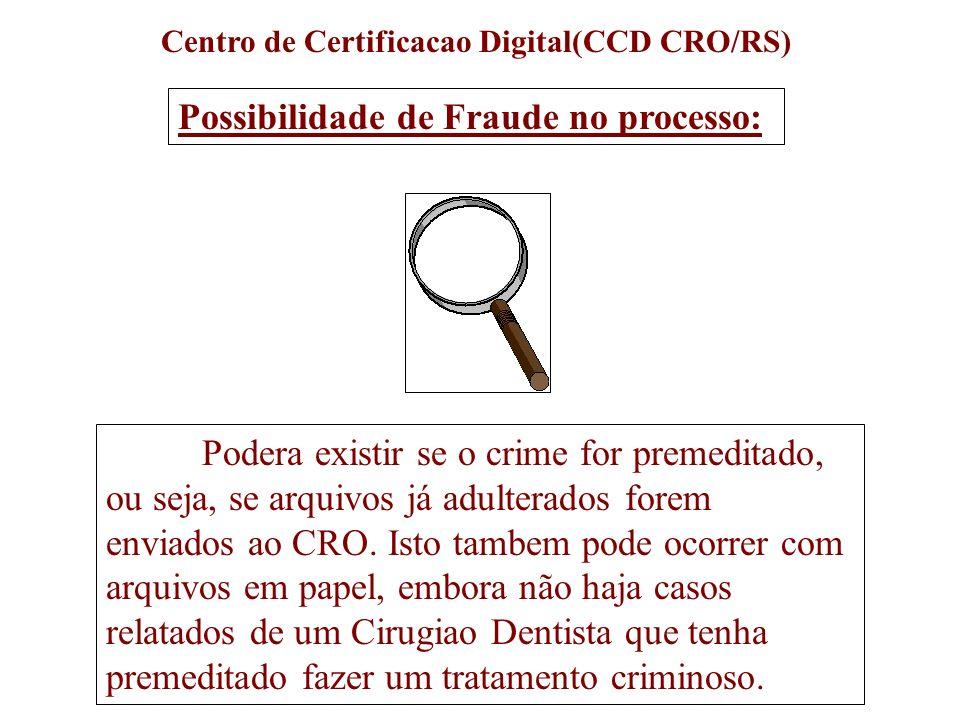 Centro de Certificacao Digital(CCD CRO/RS) Podera existir se o crime for premeditado, ou seja, se arquivos já adulterados forem enviados ao CRO. Isto