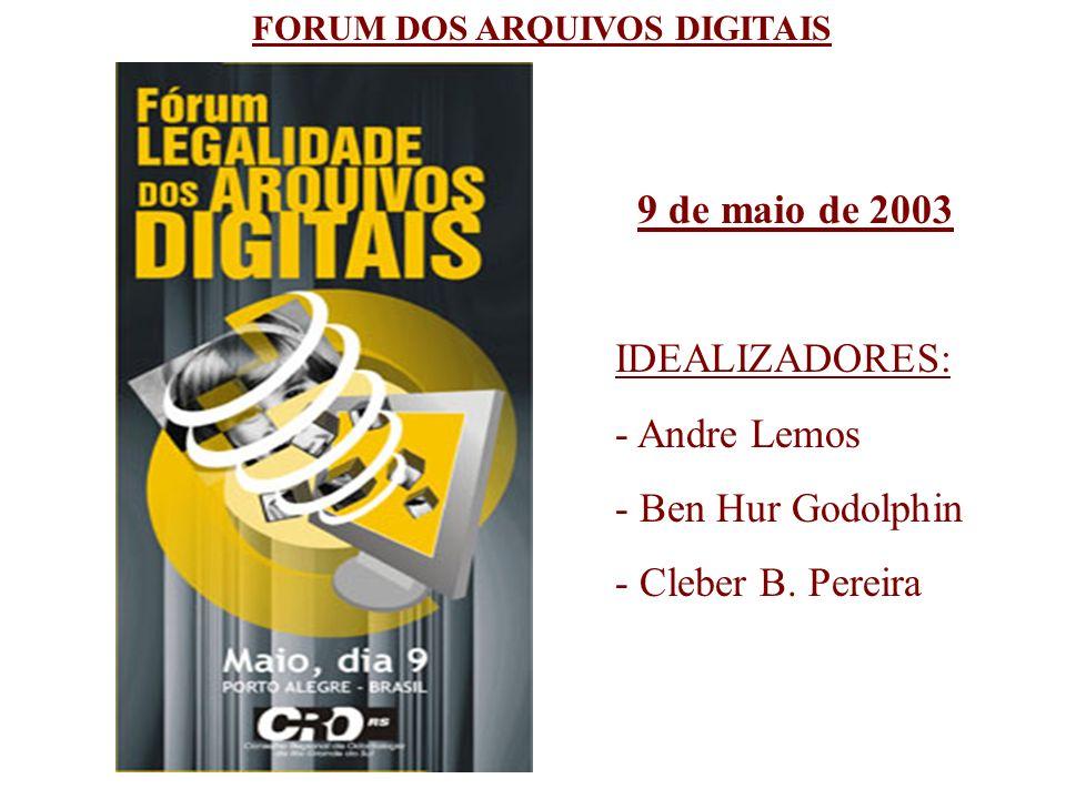 FORUM DOS ARQUIVOS DIGITAIS 9 de maio de 2003 IDEALIZADORES: - Andre Lemos - Ben Hur Godolphin - Cleber B. Pereira
