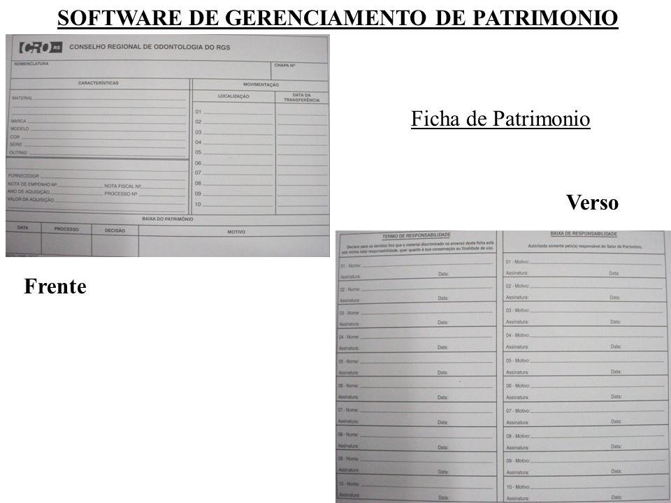 SOFTWARE DE GERENCIAMENTO DE PATRIMONIO Ficha de Patrimonio Frente Verso
