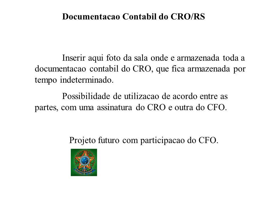 Documentacao Contabil do CRO/RS Inserir aqui foto da sala onde e armazenada toda a documentacao contabil do CRO, que fica armazenada por tempo indeter