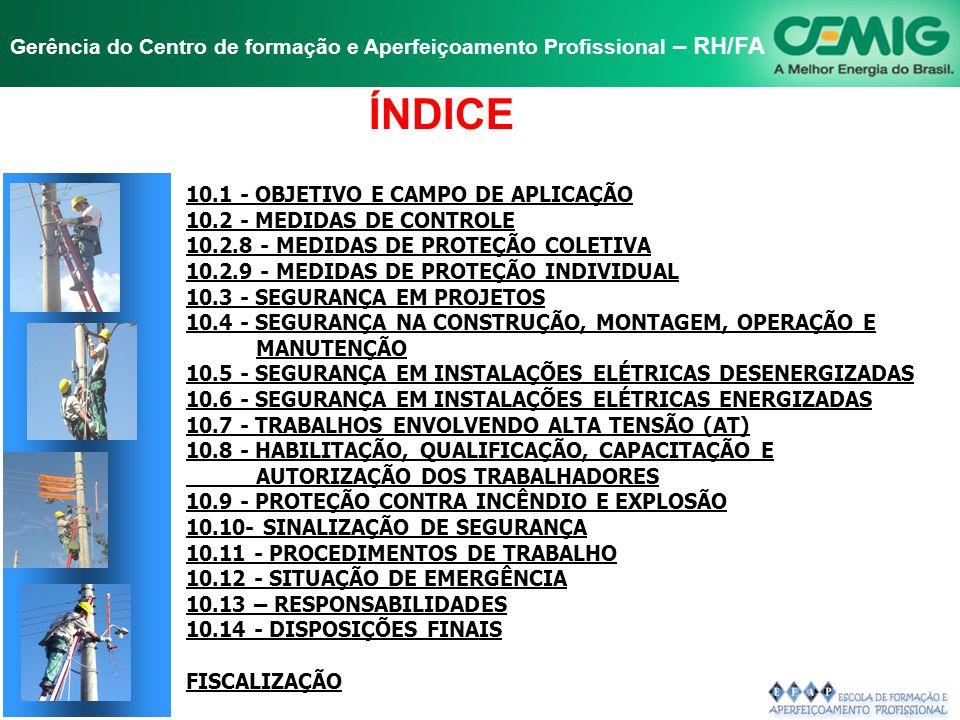 NR-10 SEGURANÇA EM INSTALAÇÕES E SERVIÇOS EM ELETRICIDADE Gerência do Centro de formação e Aperfeiçoamento Profissional – RH/FA A NORMA