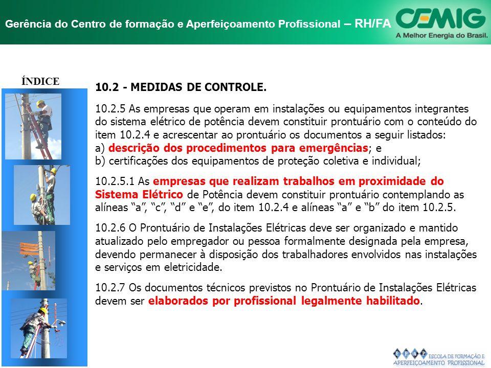 NR-10 SEGURANÇA EM INSTALAÇÕES E SERVIÇOS EM ELETRICIDADE Gerência do Centro de formação e Aperfeiçoamento Profissional – RH/FA 10.2 - MEDIDAS DE CONT