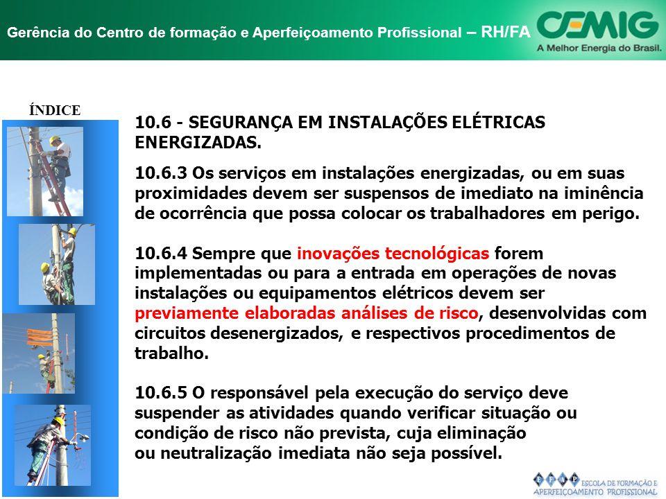 NR-10 SEGURANÇA EM INSTALAÇÕES E SERVIÇOS EM ELETRICIDADE Gerência do Centro de formação e Aperfeiçoamento Profissional – RH/FA TÍTULO 10.6 - SEGURANÇ