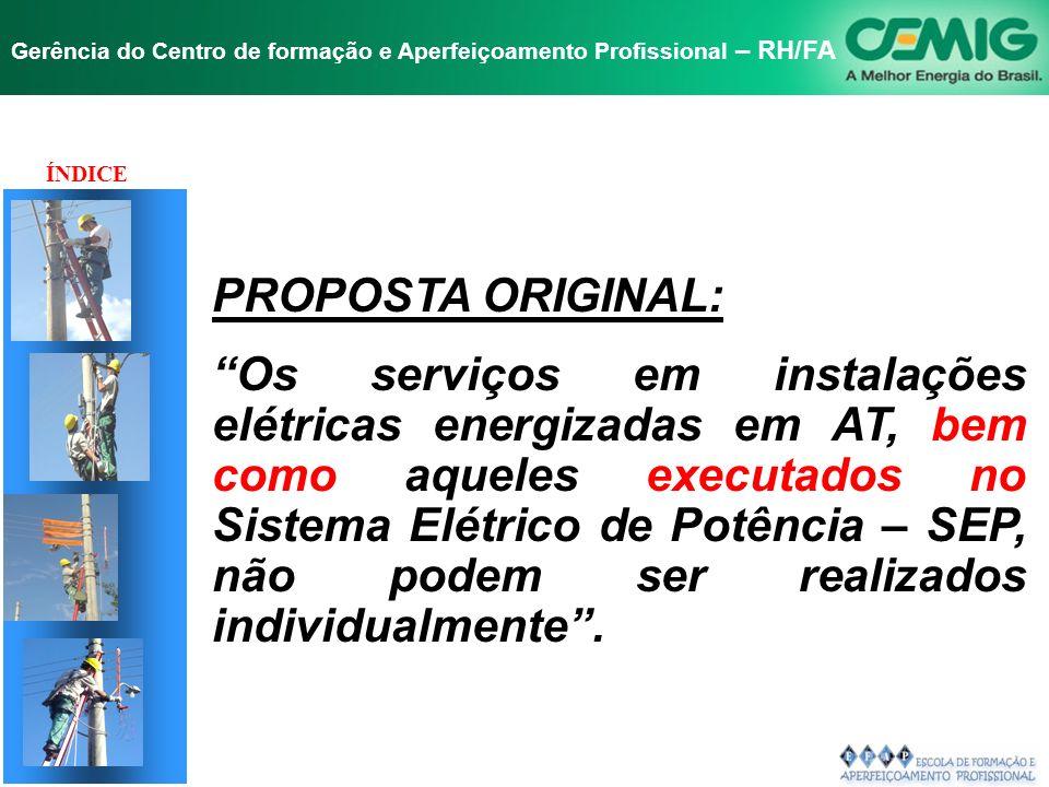 NR-10 SEGURANÇA EM INSTALAÇÕES E SERVIÇOS EM ELETRICIDADE Gerência do Centro de formação e Aperfeiçoamento Profissional – RH/FA PROPOSTA ORIGINAL: Os